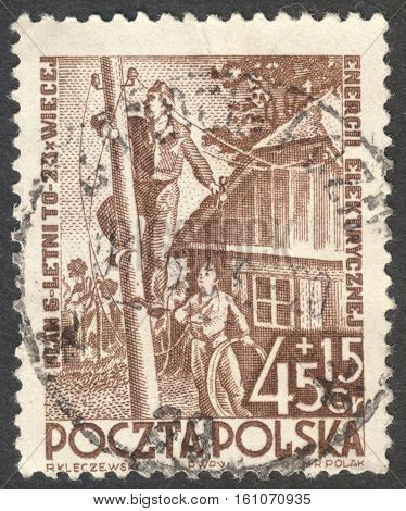 MOSCOW RUSSIA - CIRCA NOVEMBER 2016: a post stamp printed in POLAND shows electric wire construction the series