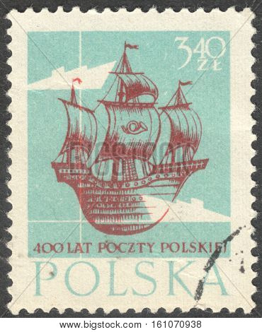 MOSCOW RUSSIA - CIRCA NOVEMBER 2016: a post stamp printed in POLAND shows a ship the series