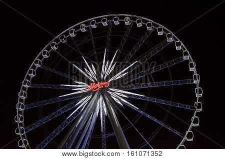 BANGKOK - 1 May : Ferris wheel in Asiatique The Riverfront an expansive open-air mall with river views and 'festival market and living museum' concept. on May 1 2015 in Bangkok Thailand
