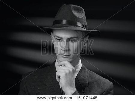 Vintage Black And White Image Of A Thoughtful Man