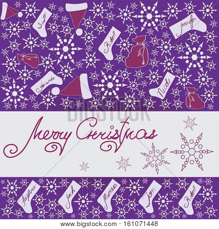 CHRISTMAS GIFTS. Design a festive banner, poster, greeting card on a purple background.