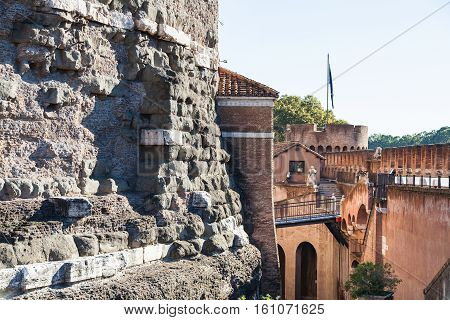 Ancient Walls Of Castle Of The Holy Angel In Rome