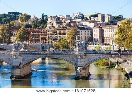 Rome City Skyline With Tiber River And Bridge