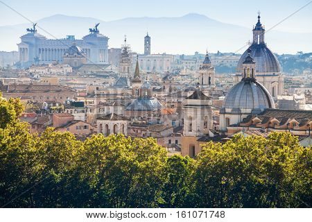 View Of Historic Center Of Rome On Capitoline Hill