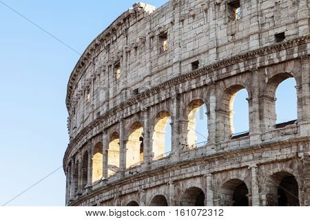 Walls Of Ancient Roman Amphitheatre Colosseum