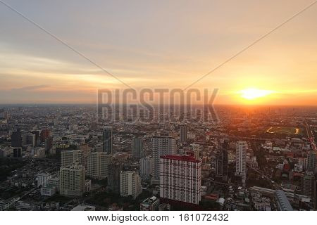 bangkok view from Baiyoke Tower II on 3 July 2014 BANGKOK - July 3: Baiyoke Tower II is the tallest building in Thailand with 328.4 m. july 3, 2014 in Bangkok, Thailand