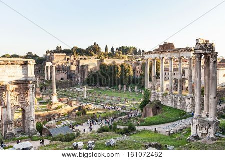 Forum Of Caesar On Roman Forums In Rome