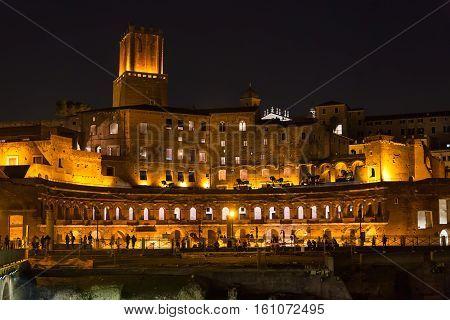 Trajan Market Of Trajan's Forum In Night