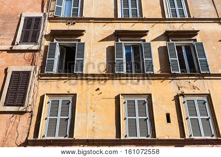 Front View Of Old House On Street Of Rome City