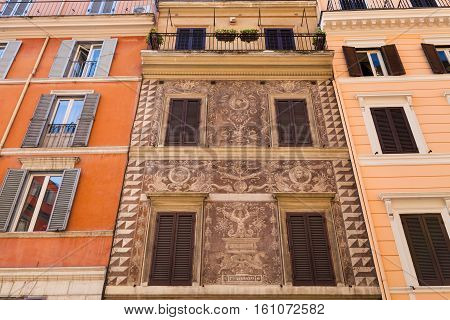 Medieval Facade Of House On Street In Rome City