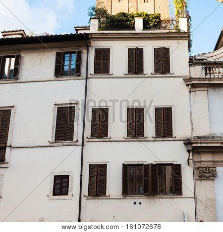 White Facades Of Urban Houses Of Rome City