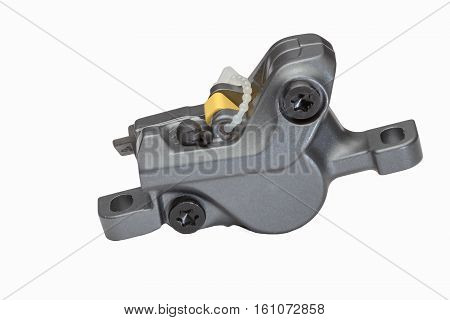 Bicycle hydraulic disc brake caliper isolated on a white background