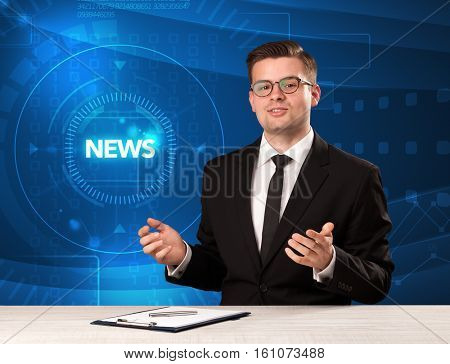 Modern televison presenter telling the news with tehnology background concept