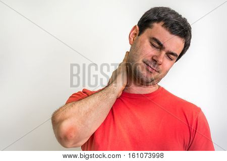 Man with muscle injury having pain in his neck - body pain