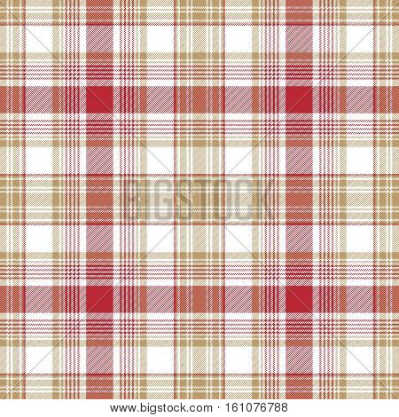 Beige red white check fabric texture seamless pattern. Vector illustration.