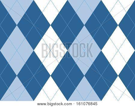 Blue argyle seamless pattern. Flat design. Vector illustration.