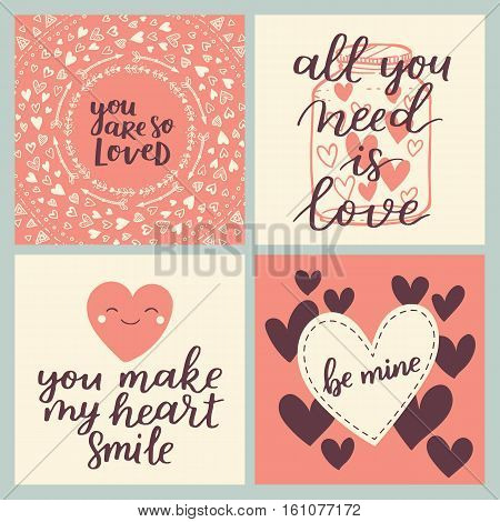 Set Of Greeting Cards For Valentine's Day. Vector Collection With Brush Lettering And Hand Written E