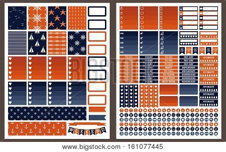 Marine vector illustration printable stickers for planner