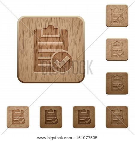 Note done icons in carved wooden button styles