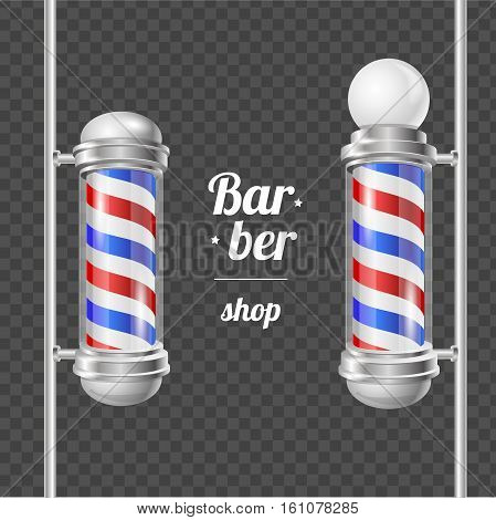 Barber Shop Pole Services Shaving and Haircuts Concept on Transparent Background Barbershop Design Elements. Vector illustration
