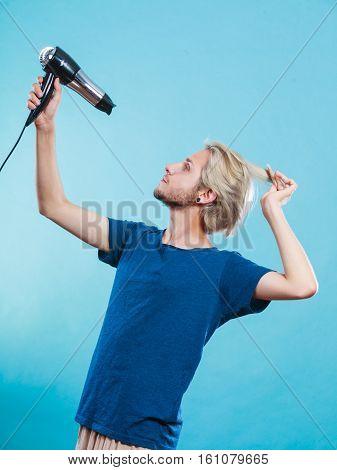 Trendy Man With Hair Dryer