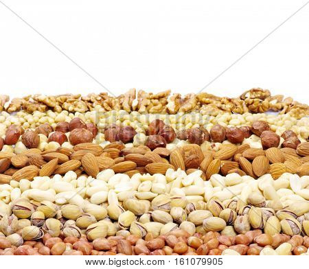 mixed nuts on a background