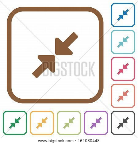 Resize small simple icons in color rounded square frames on white background