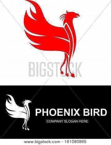 logo illustration red phoenix bird flying wing