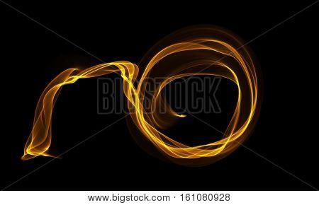 Colored Light Energy Streak Design Element on Black Background