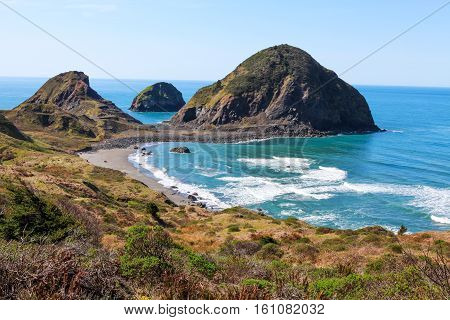Scenic View Of Coastline At Redwood National Park