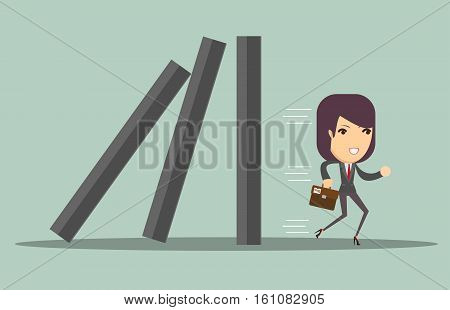 Business woman running away from problems, domino effect and problem solving, vector illustration