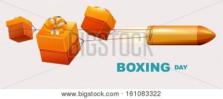 Boxing day text. Box gifts tied to bullet fly. Illustration in vector format