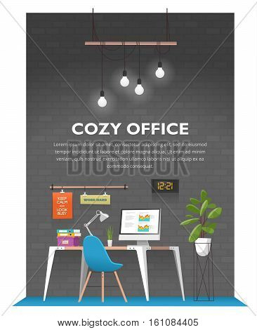 Creative office interior in loft space with old vintage brick wall. Modern cozy workspace with wooden table, computer, desk lamp, folders, plants, posters, clock and other items. Vector illustration.