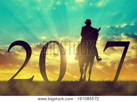 Silhouette of a woman riding a horse at sunset. Forward to the New Year 2017