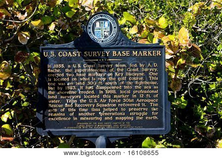 base marker, Key Biscayne, Miami, Florida, USA