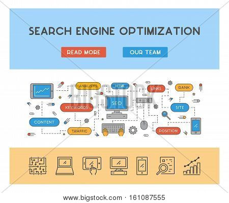 Vector line concept for search engine optimization. Linear web banner for seo. Open path.