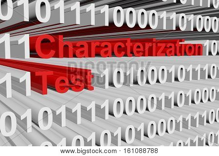 Characterization test in the form of binary code, 3D illustration