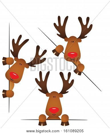 Scalable vectorial image representing a cute reindeer peeking from behind in various positions, isolated on white.