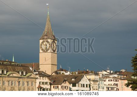 Panoramic view of Zurich in Switzerland, Europe