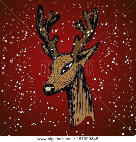 hand-drawn sketch of a deer's head in half-turn on a red background with snow and snowflakes imitation. Vector illustration for a website selling hunting billboards wildlife Graphics in the New Year and Christmas.