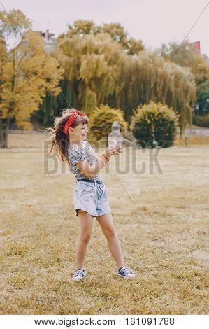 girl walking park eating ice cream good time using communication