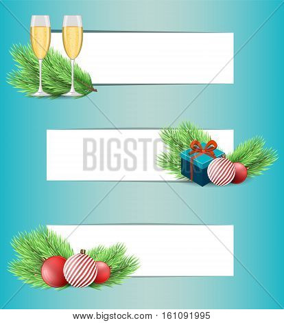 Stock vector Christmas banner set of fir tree branch Christmas decorations champagne glasses and present box.