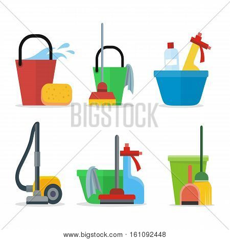 Set of Cleaning Equipment bucket, mop, sponge, rag, detergent, vacuum cleaner, shovel. House cleaning service, professional office cleaning, domestic cleaning service illustration Icon set in flat poster