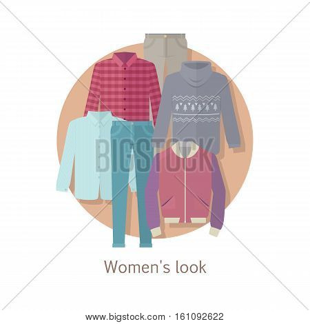 Women s look vector concept. Flat design. Set of casual women s clothing for autumn. Pants, jacket, sweater, shirt illustrations. For clothes stores ad, fashion concepts. Isolated on white background