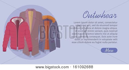 Outerwear web banner. Winter collection. Stylish fashionable man coat garment from popular designers. Best world brands trends. New collection of outwear models. For store, boutique ad. Vector