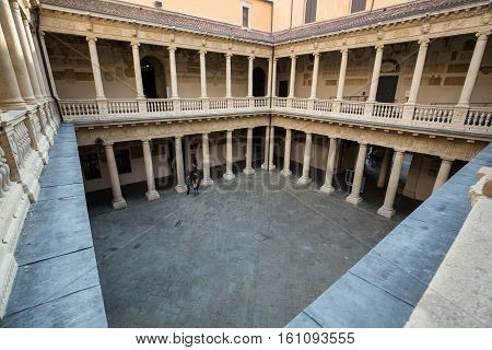 PADUA, ITALY - MAY3, 2016: Bo historical building home of the Padova University from 1539 in Padua Italy