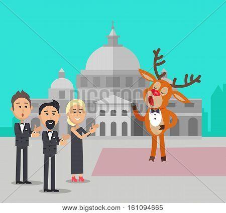Deer singing song near the conservatory. Reindeer in suit sing opera. Audience applause to him. Deer singer in flat style design. Cute cartoon mammal posing. Deer in bow. Vector illustration