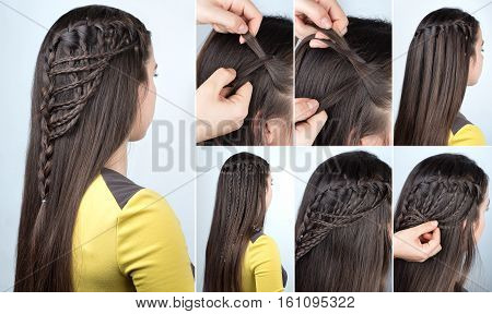 hairstyle braid waterfall with loose hair. Hairstyle tutorial for long hair. Hairstyle for party tutorial step by step