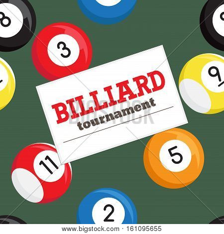 Billiard tournament poster vector template. Seamless texture with billiard balls