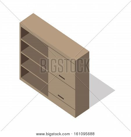 Isometric wooden cupboard. Classic wooden furniture with shadow in flat. Cupboard icon. Living room furniture. Furniture element for home interior. Isolated object on white background